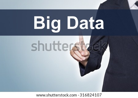 Big Data Business woman pushing hand on virtual screen for e-commerce background - stock photo