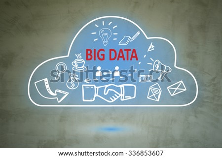 Big data cloud computing on wall , business concept ,business idea - stock photo
