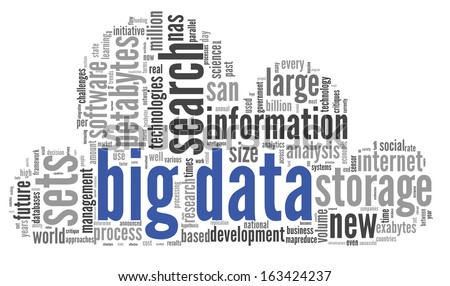 Big data concept in word tag cloud on black background - stock photo