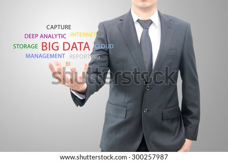 Big data concept man hold Big Data symbol set - stock photo
