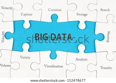 Big data concept words on group of jigsaw puzzle pieces - stock photo