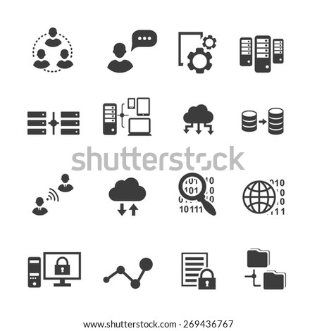 Big data icon set, data analytics, cloud  computing. digital  processing  - stock photo