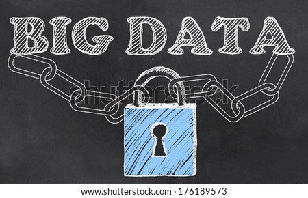 Big Data IT Security Issues with Chalk on Blackboard - stock photo