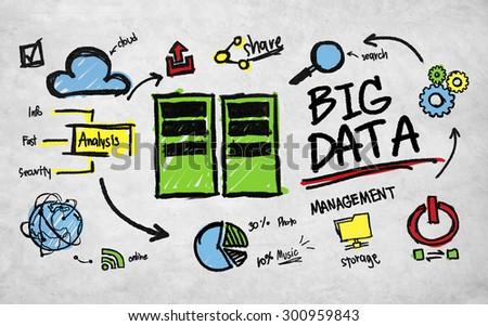 Big Data Management Storage Sharing Technology Concept - stock photo