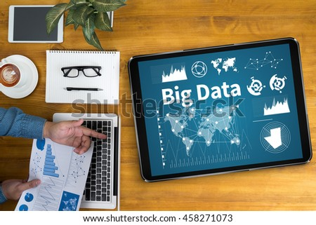 Big Data on Domain Web Page and  SEO Businessman working at office desk and using computer and objects, coffee, top view, - stock photo