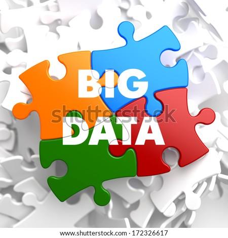 Big Data on Multicolor Puzzle on White Background. - stock photo