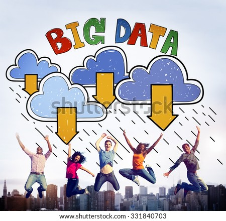 Big Data Storage Database Download Concept - stock photo