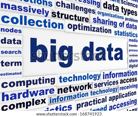 Big data technical poster. Complex analysis technological background - stock photo