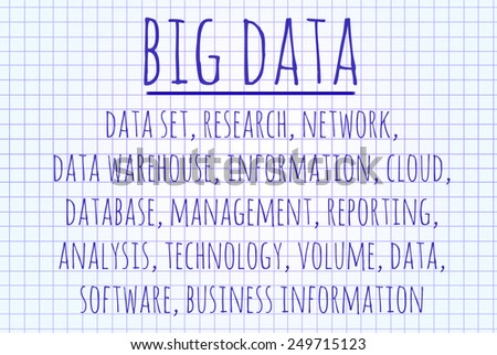 Big data word cloud written on a piece of paper - stock photo