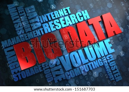 Big Data - Wordcloud Concept. The Word in Red Color, Surrounded by a Cloud of Blue Words. - stock photo