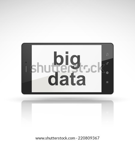 big data words on mobile phone isolated on white - stock photo