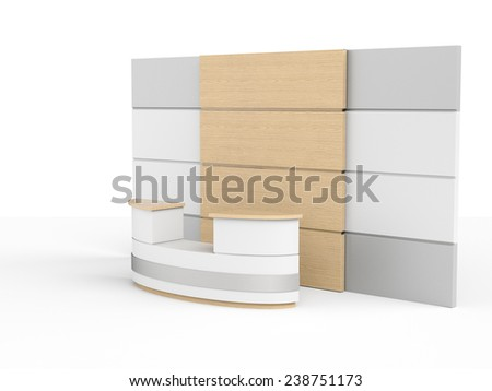 big desk or counter with wooden wall in perspective - stock photo
