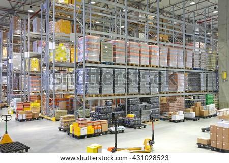 Big Distribution Center Warehouse Building Interior - stock photo