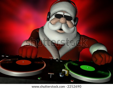 Big DJ SC is in Da House and mixing up some Christmas cheer.  Turntables with vinyl albums. - stock photo