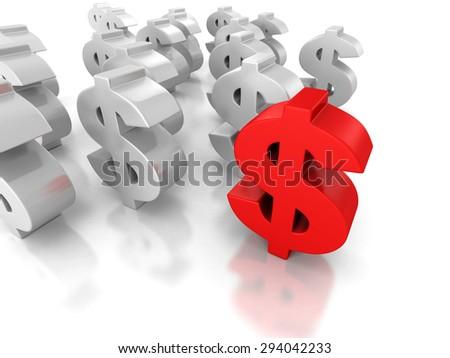 Big Dollar Currency Symbol Forward Leader. 3d Render Illustration - stock photo
