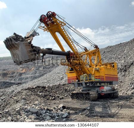 big dredge in career of iron ore - stock photo