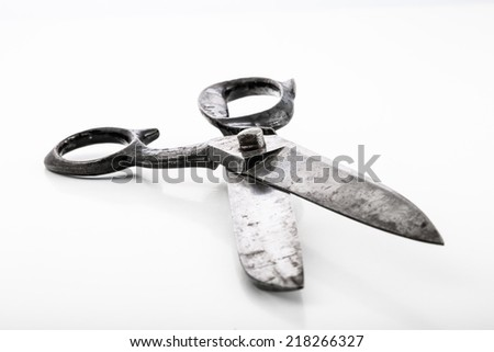 Big dressmaking scissors isolated in white. Selective focus. - stock photo
