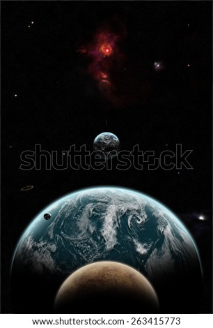 Big Earth-like planet covered in clouds with its moons and a red nebula in space. Elements of this image furnished by NASA - stock photo