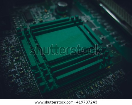 Big Electronic circuit board with radio components soldered on PCB - stock photo