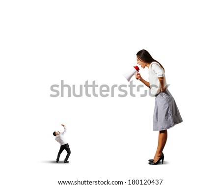 big emotional woman shouting at small scared man. isolated on white background - stock photo