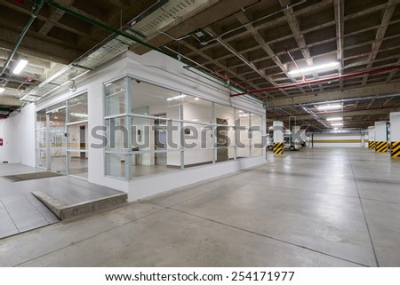 Big empty garage - stock photo