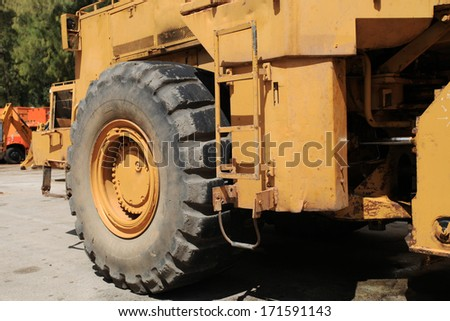 Big excavator use in the mine - stock photo