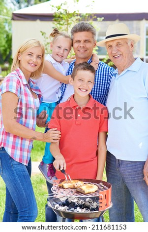 Big family of five gathering at summer weekend - stock photo