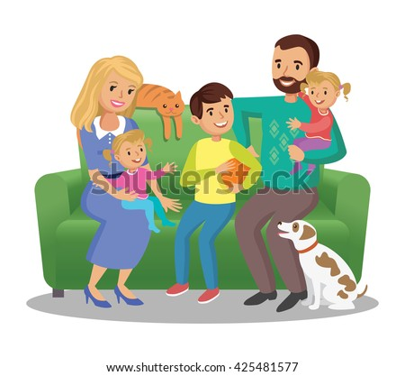 Big family on sofa. Happy family portrait, smiling parents and kids. Concept happy family, family in love. - stock photo