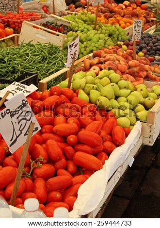 Big farmers market stall filled with organic vegetables - stock photo