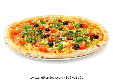 big fat italian pizza - stock photo