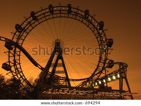 Big ferries wheel in Vienna (Austria) in the evening - stock photo