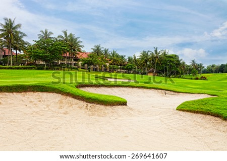 Big field for game in golf in the tropical resort - stock photo