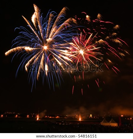 Big fireworks on the night sky - stock photo