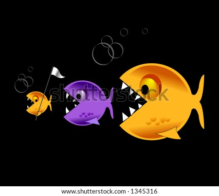 Big fish eat little fish - stock photo