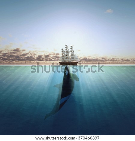 Big fish holding beautiful ship. Concept for background, banner, poster, cover, brochure. - stock photo