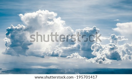 Big fluffy clouds - stock photo