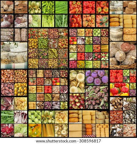 big food collage  - stock photo