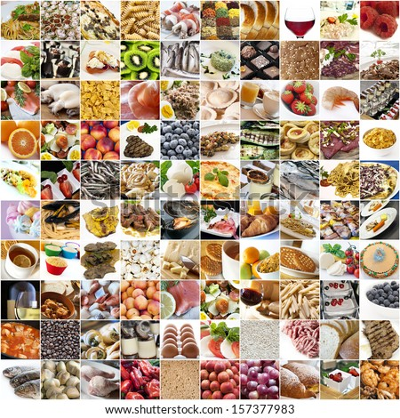 Big food collage with white background - stock photo