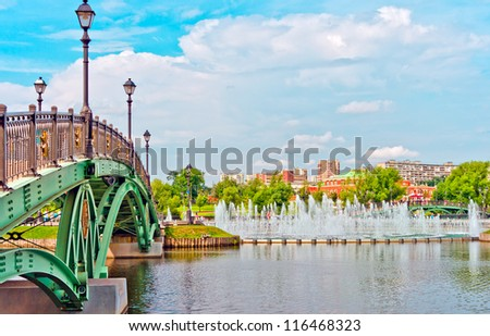 Big fountain and green bridge in Tsaritsino park, Moscow, Russia, East Europe - stock photo