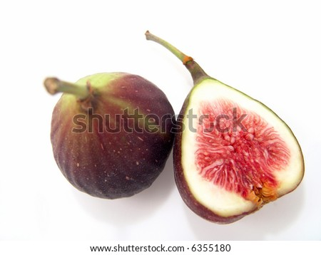 Big Fresh Figs (Close-up, cross-section with life-like colors) - stock photo