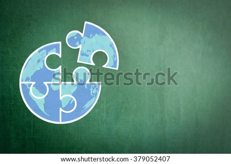 Big globe jigsaw puzzle piece connecting together conceptual design freehand doodle drawing sketch on school/ business office green chalkboard background: World Autism Awareness Day Month idea concept - stock photo