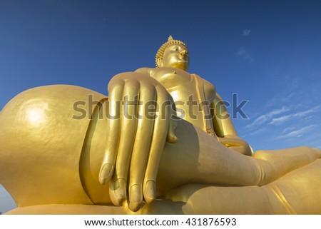 Big Golden Buddha at Wat Muang in Ang Thong, Thailand - stock photo