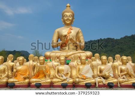 Big golden buddha statue at thailand - stock photo