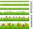 Big Grass And Flower Set, Isolated On White Background - stock photo