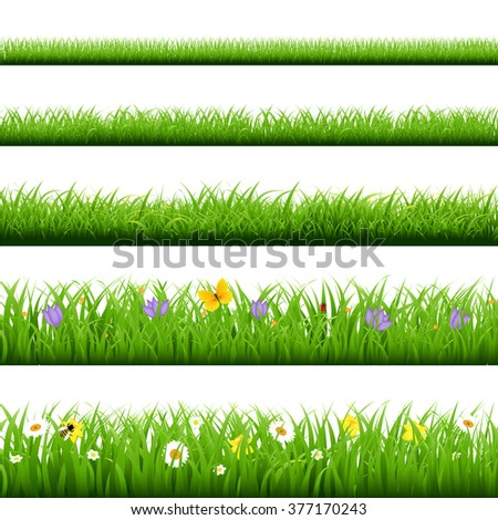 Big Grass Set With Butterfly And Flowers  - stock photo
