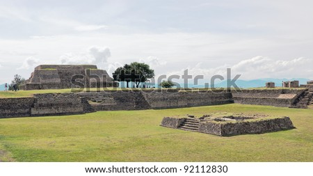 Big ground among the ruins at Monte Monte Alban - Oaxaca, Mexico - stock photo