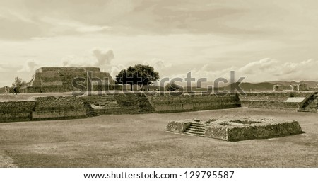 Big ground among the ruins at the Monte Monte Alban - Oaxaca, Mexico (stylized retro) - stock photo