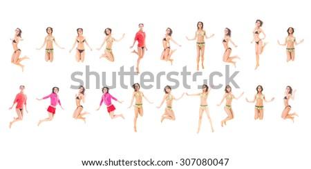 Big Group Girl Active  - stock photo