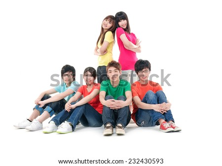 Big Group of happy friends. Theme: education, friends, relations. - stock photo