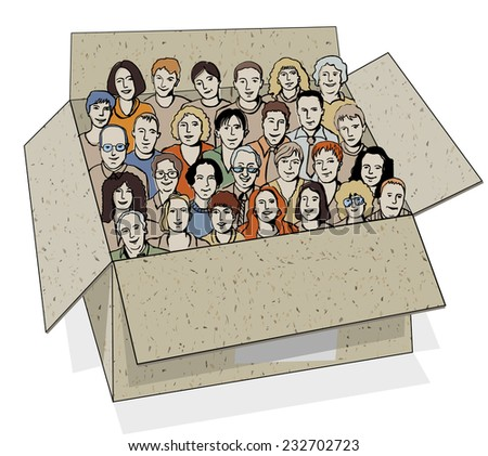 Big group of people in the box. The big group of different characters unrecognizable people in the box like metaphor of work team. Color vector illustration. - stock photo